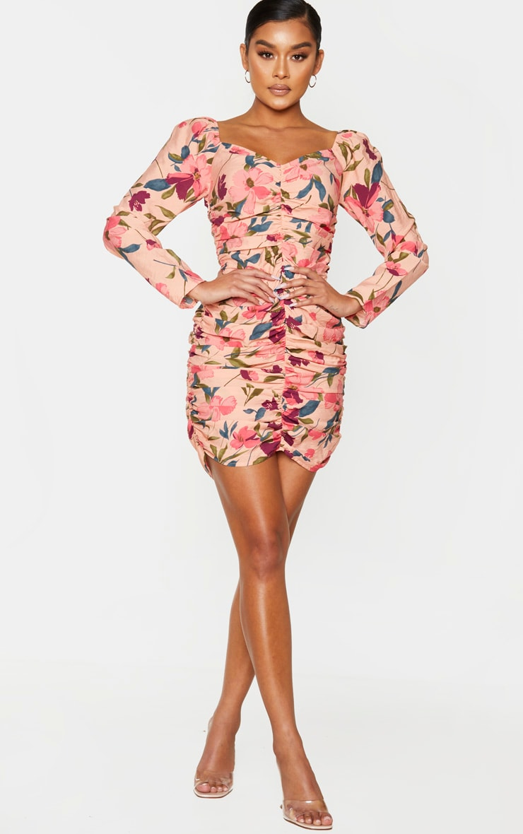 Peach Floral Print Ruched Front Bodycon Dress 3