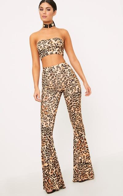 a971e2c8b8 Brown Slinky Leopard Print Flared Trousers