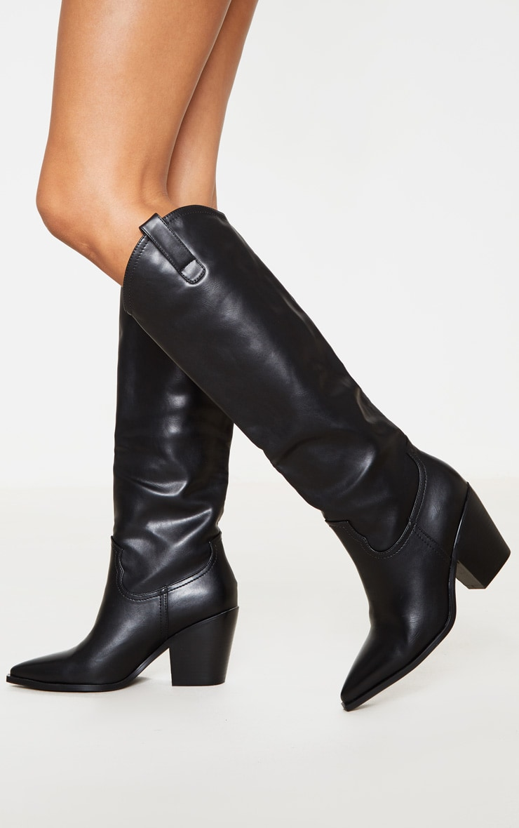 Black Mid Calf Western Boot 2