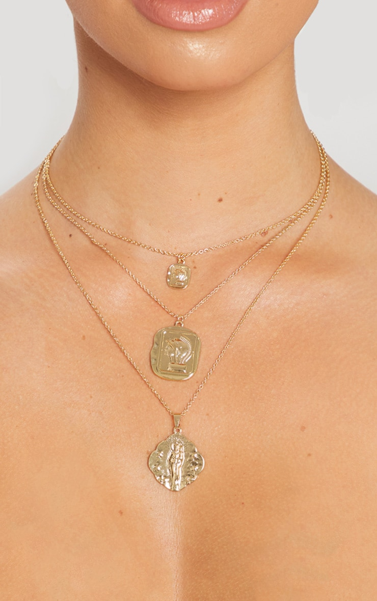 Gold Triple Layer Cameo Pendant Necklace 1