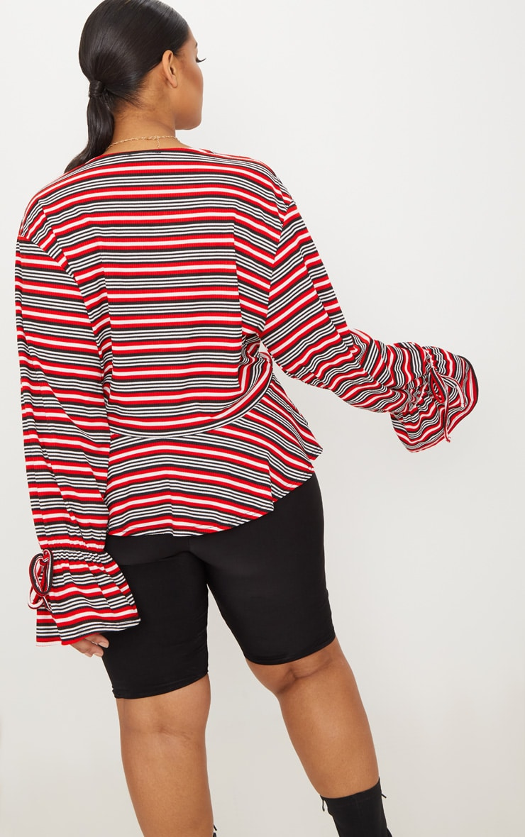 Plus Red Striped Deep Plunge Blouse  2