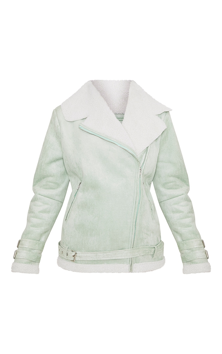 Emilia Sage Green Faux Suede Aviator Jacket 3