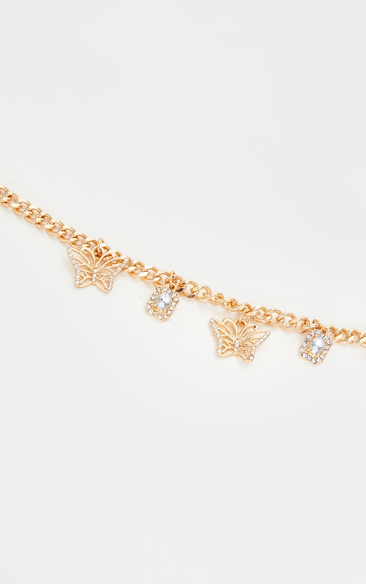 Gold Simple Diamante Butterfly Necklace 3