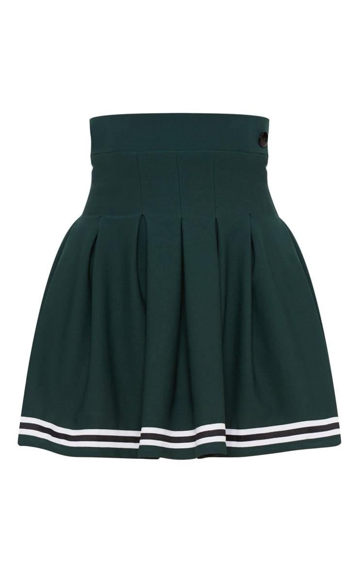 Green Contrast Track Stripe Pleated Tennis Skirt 3