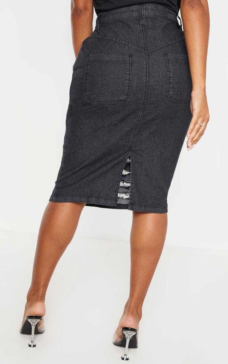 Shape Washed Black Distressed Detail Denim Midi Skirt 4