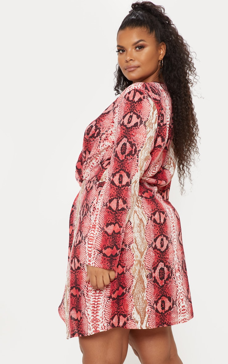 Plus Pink Snake Print Satin Long Sleeve Wrap Dress 2