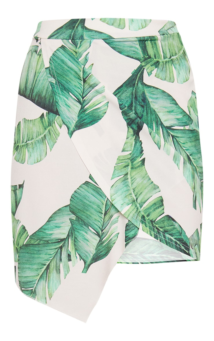 Green Leaf Print Wrap Skirt  3