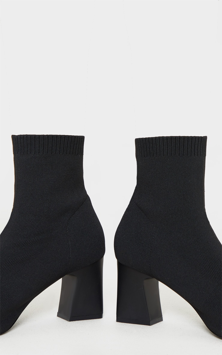 Black Point Toe Block Heel Sock Boot 4