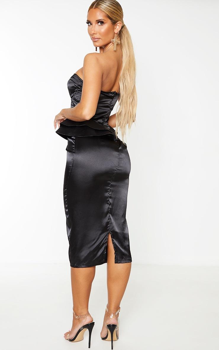 Black Satin Corset Structured Peplum Midi Dress 2
