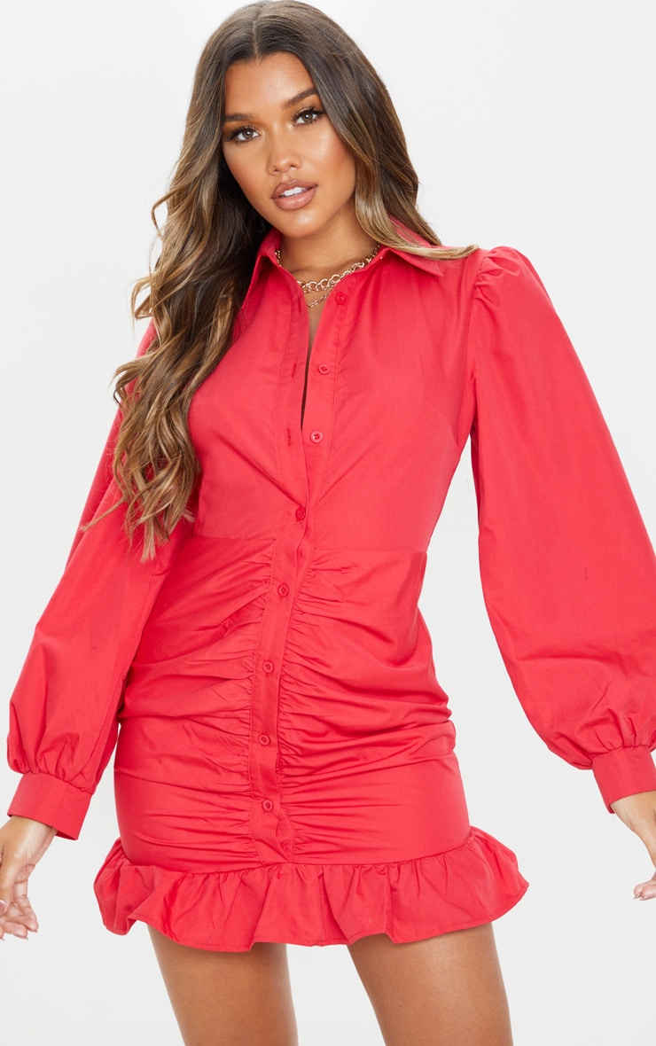 Robe chemise froncée rouge à ourlet volanté 4