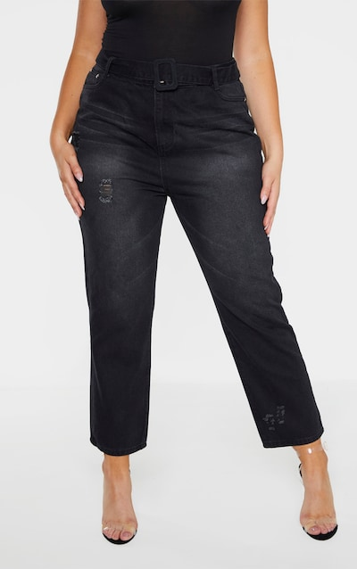 Plus Black Belt Detail Distressed Straight Leg Jean