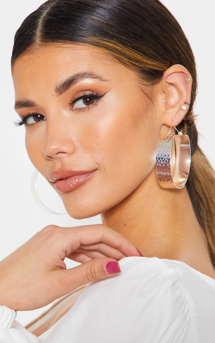 Silver Textured Wide Flat Hoops 1