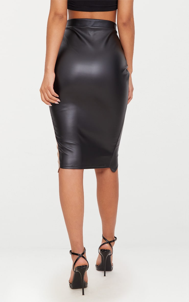 Black Faux Leather Asymmetric Zip Midi Skirt 4
