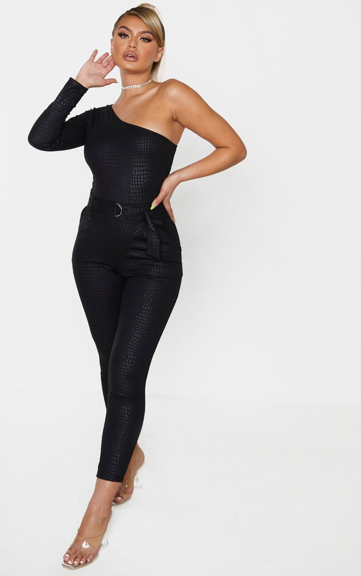 Black Textured Croc D Ring One Shoulder Jumpsuit 4