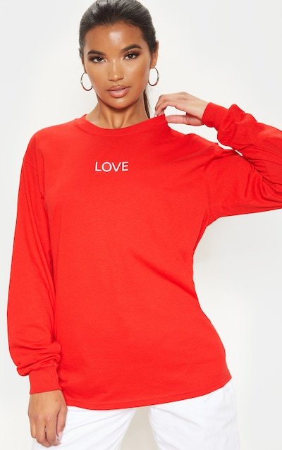 Red LOVE Embroidered Long Sleeve T Shirt
