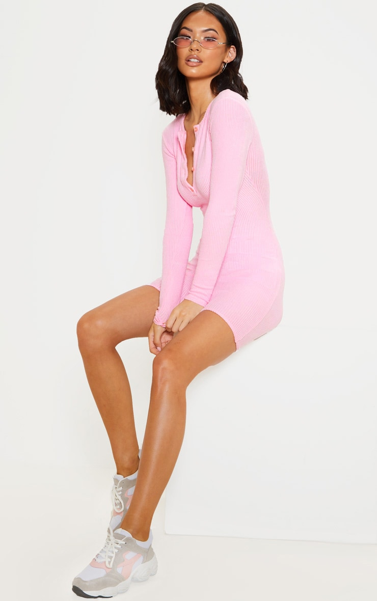 Pink Soft Rib Button Front Bodycon Dress 4
