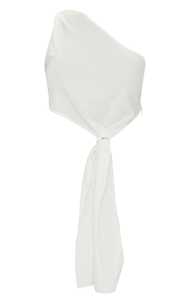 White Cotton One Shoulder Knot Detail Crop Top 5