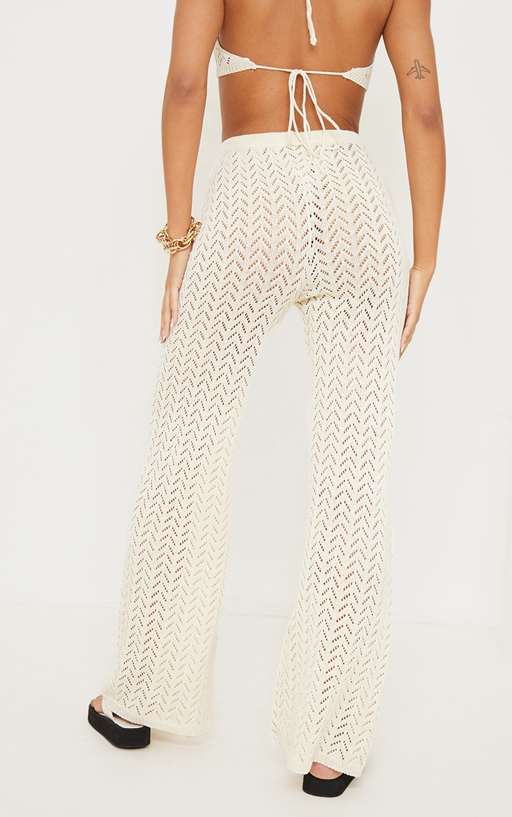 Cream Crochet Knitted Flare Trousers 3