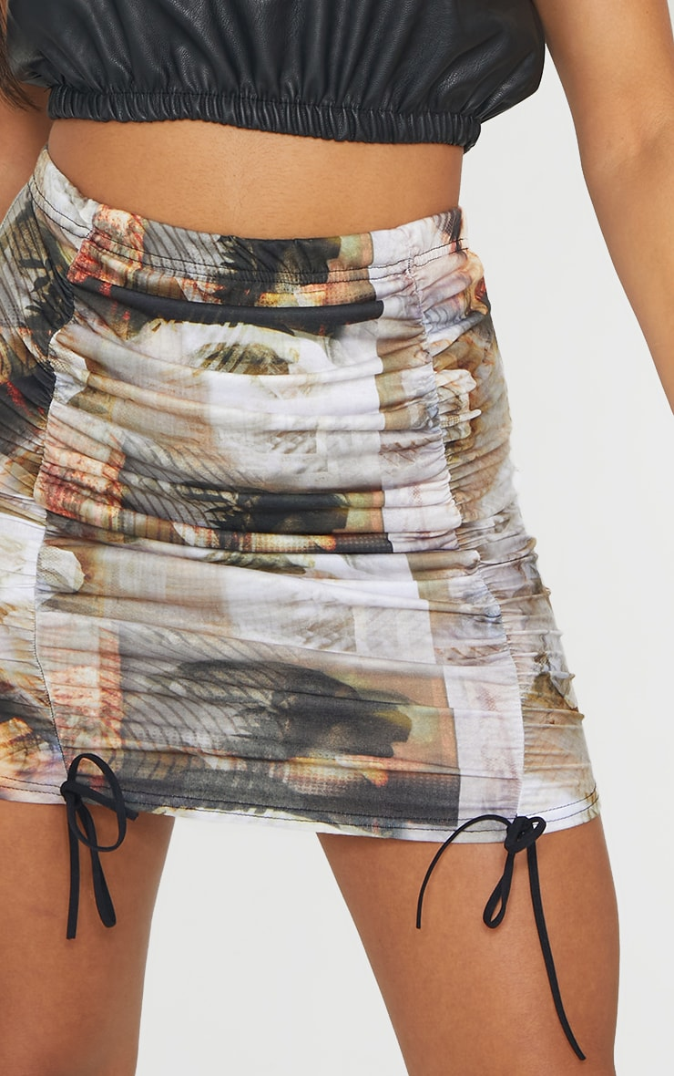 Multi Portrait Print Distorted Ruched Detail Mini Skirt 4