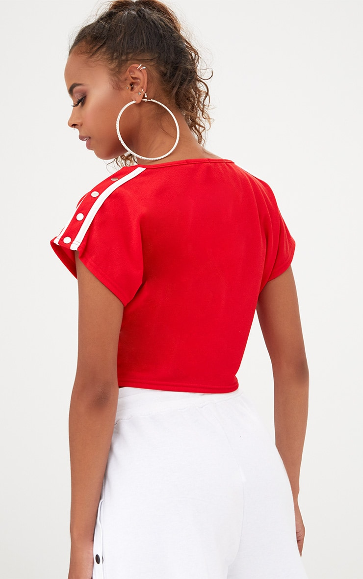 Petite Red/White Popper Shoulder Stripe Crop Top 2