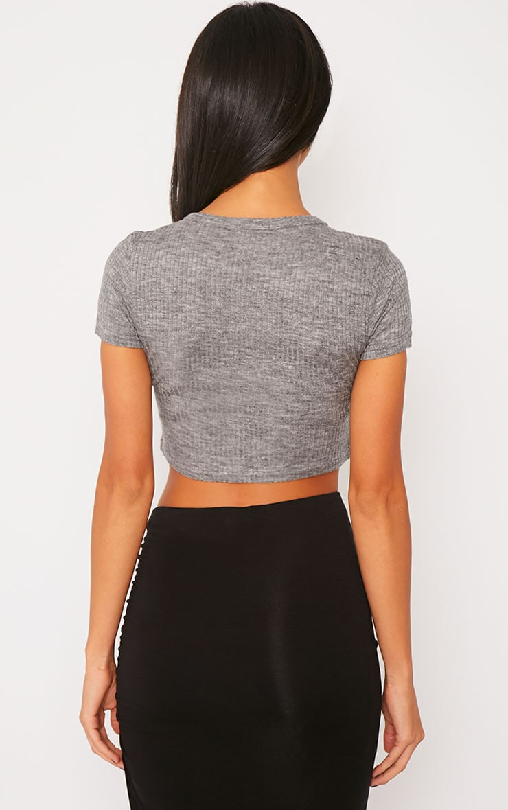 Basic Grey Rib Crop Top 2