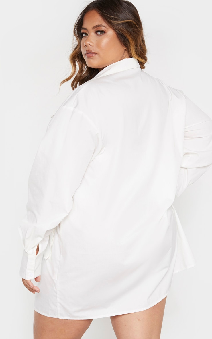 Plus White Pocket Detail Long Sleeve Shirt Dress 2