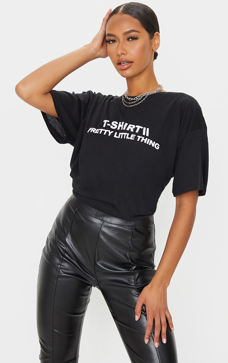 PRETTYLITTLETHING Black Official T Shirt 1