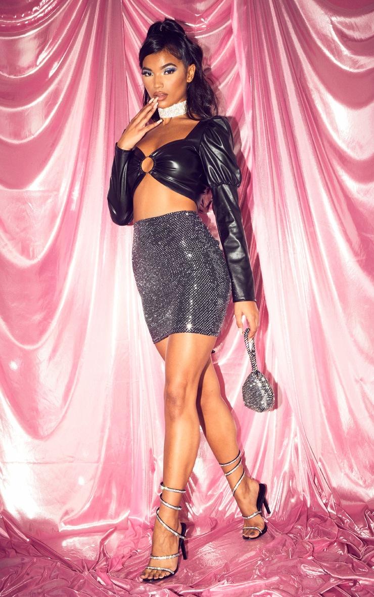Black Sequin Ruched Bum Mini Skirt 5