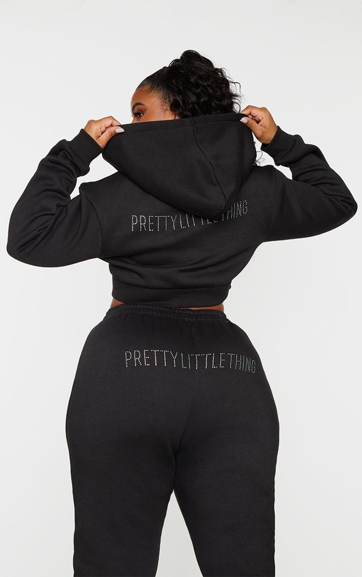 PRETTYLITTLETHING Plus Black Diamante Zip Up Cropped Hoodie 1