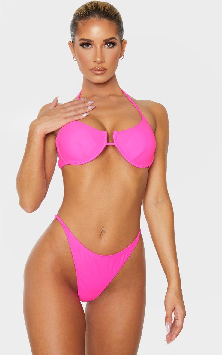 Pink Underwired Tanga Bikini Top 1