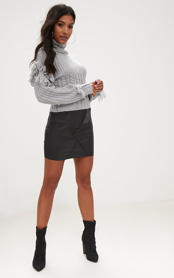 Grey Tassel Cable Knit Jumper 3