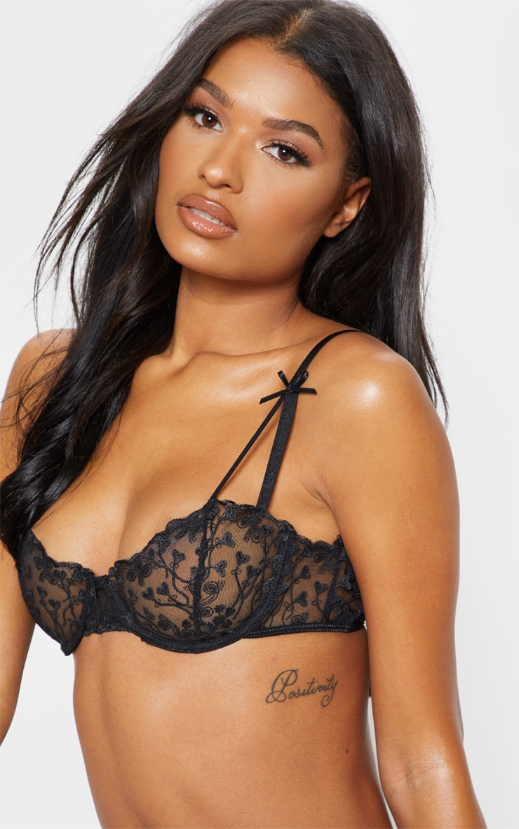 Black Delicate Heart Underwired Bra 4