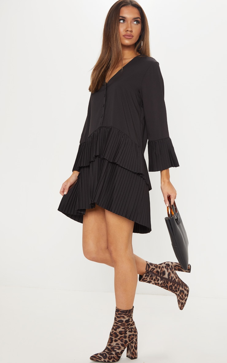 Black Button Tiered Smock Dress 4