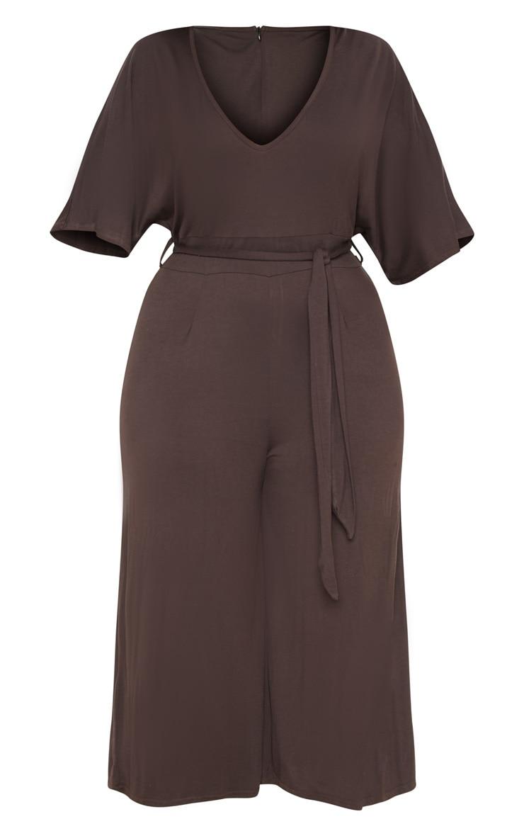 Plus Chocolate Brown  Culotte Jumpsuit 3