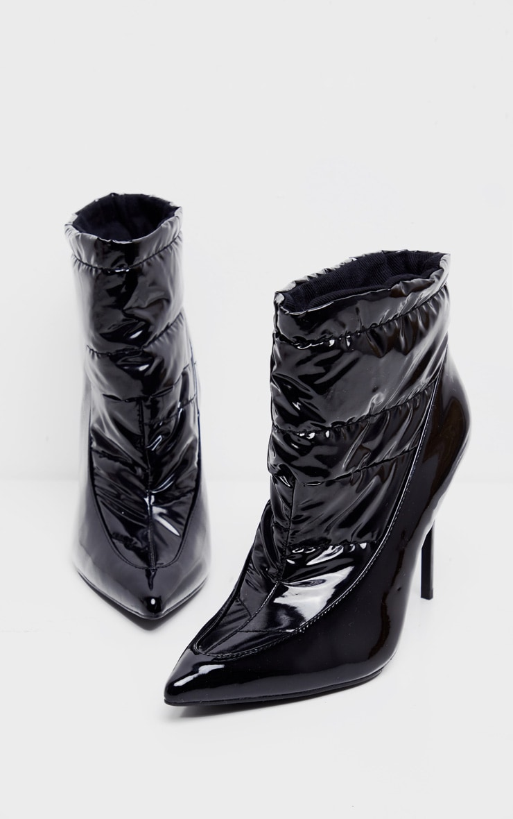 Black Quilted High Shine Ankle Boot 3