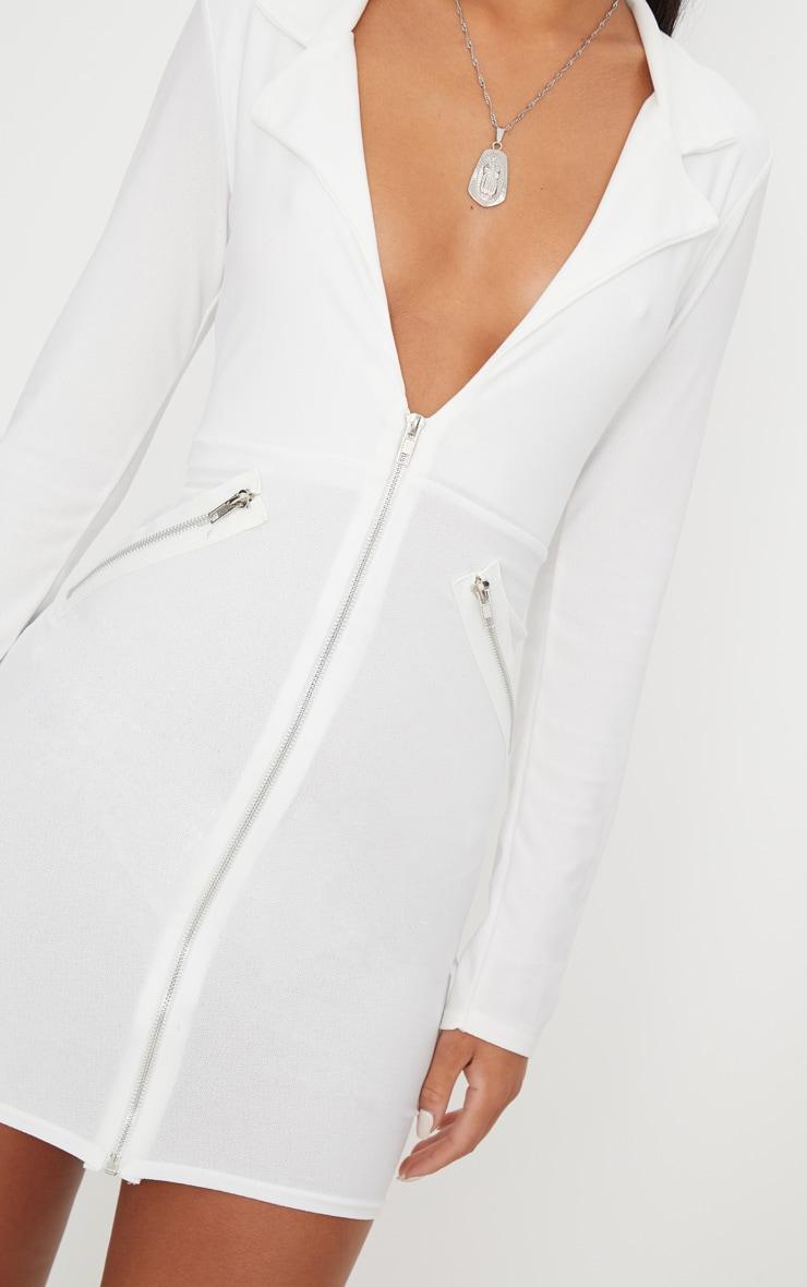 White Zip Detail Blazer Bodycon Dress 4