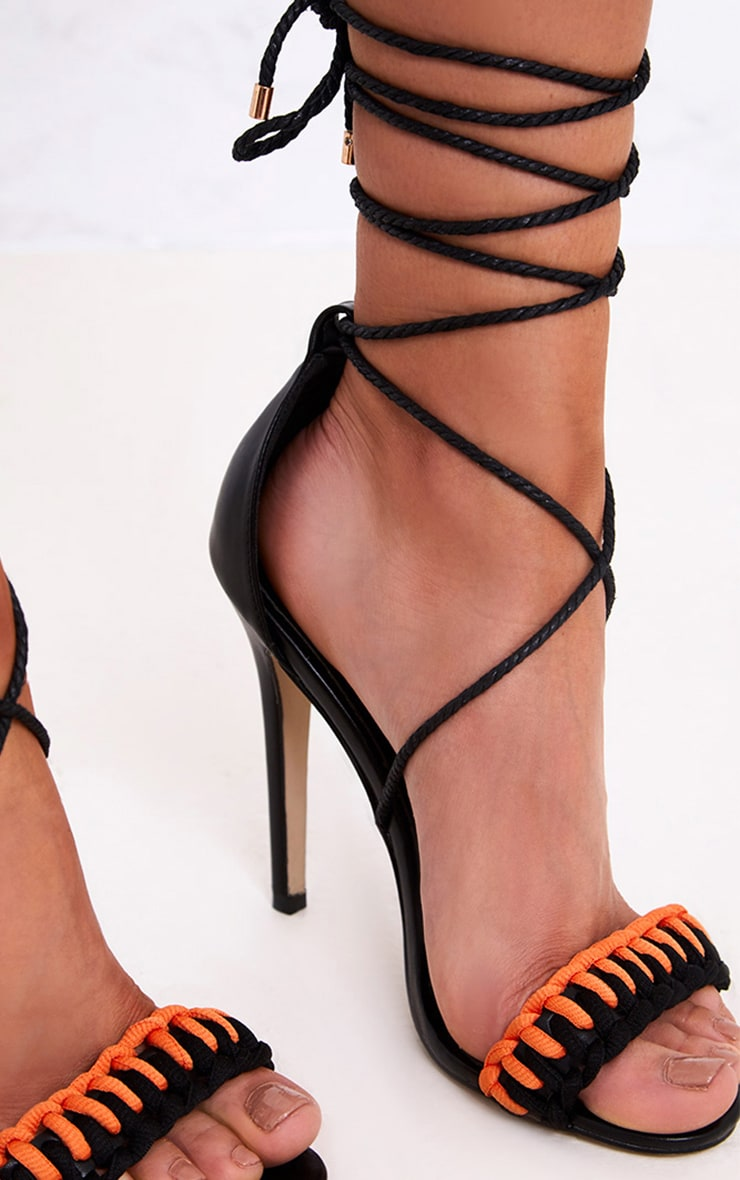 Enya Black Contrast Piping Lace Up Heels  4