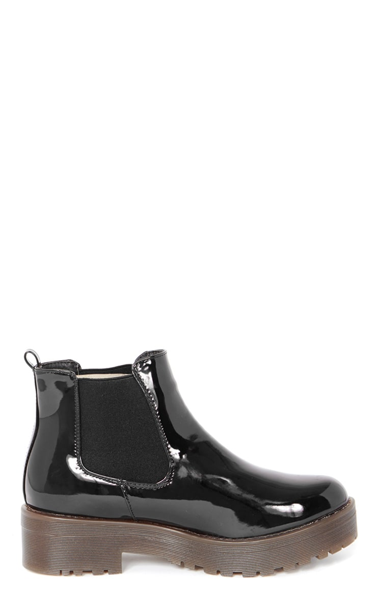 Sabine Black Patent Cleated Sole Chelsea Boot  3