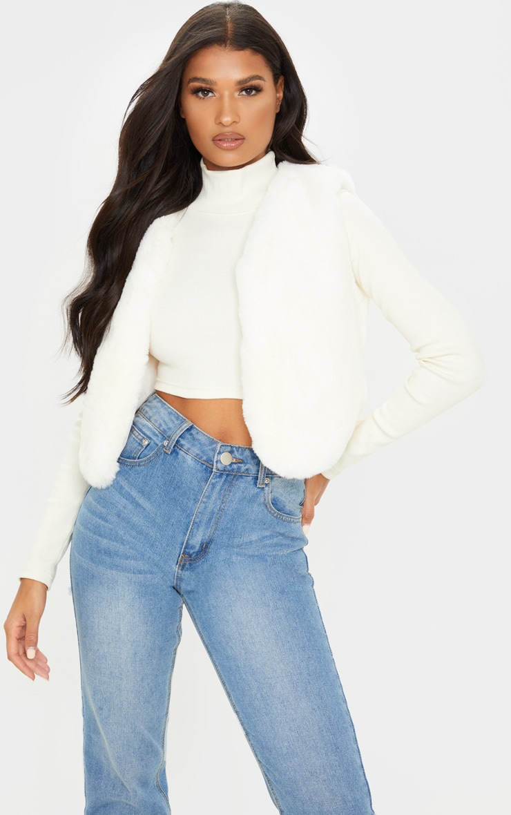 Cream Faux Fux Crop Gilet 1