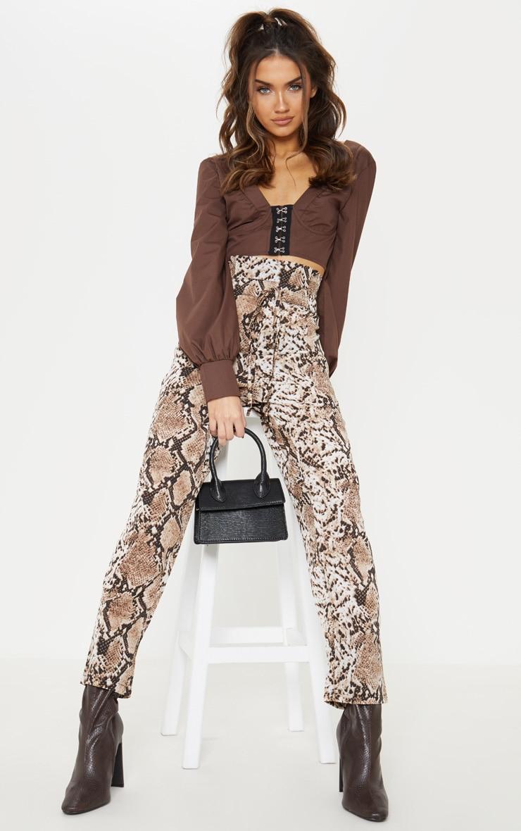 Brown Snake Print Paperbag Waist Tapered Leg Trouser 1