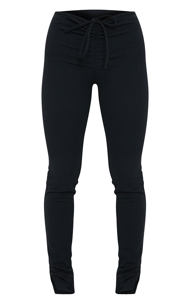 Petite Black Crepe Ruched Waist Line Split Hem Pants 5