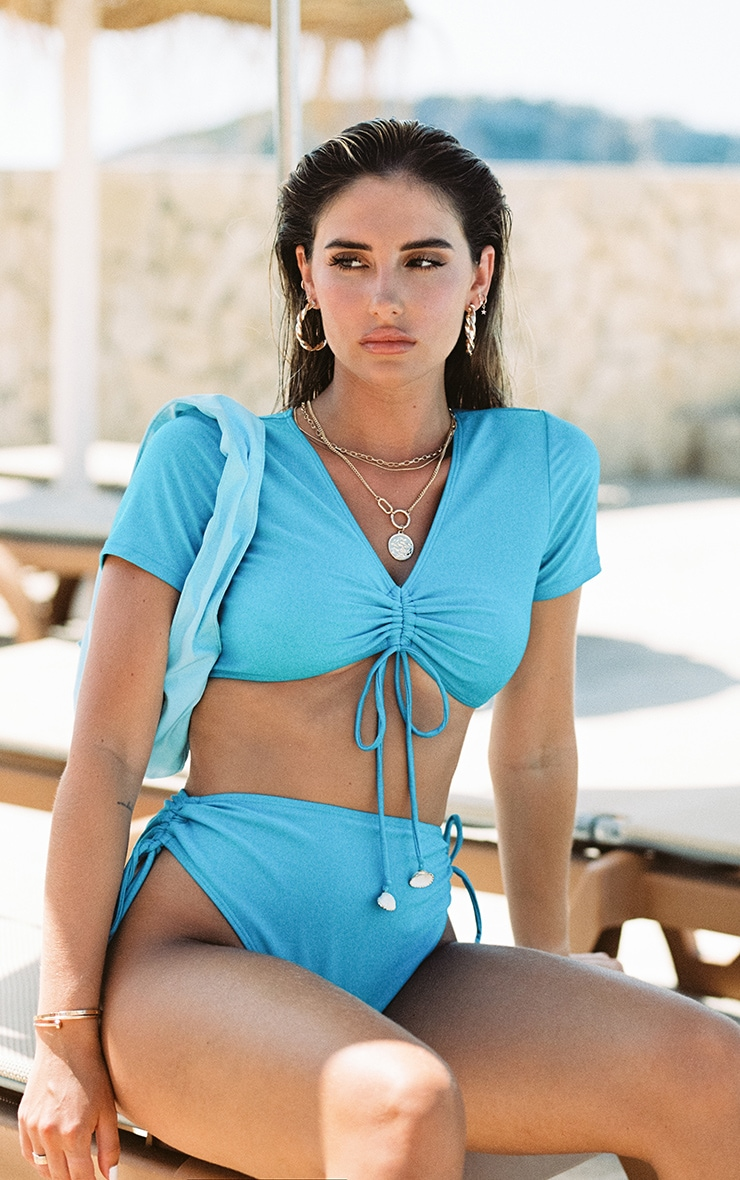 Bright Blue Ruched Shell Trim T-Shirt Bikini Top 1