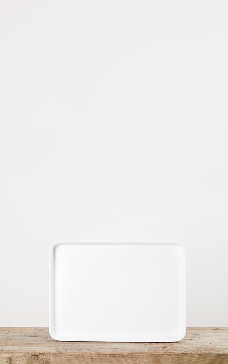 Matte White Decorative Tray Small 3