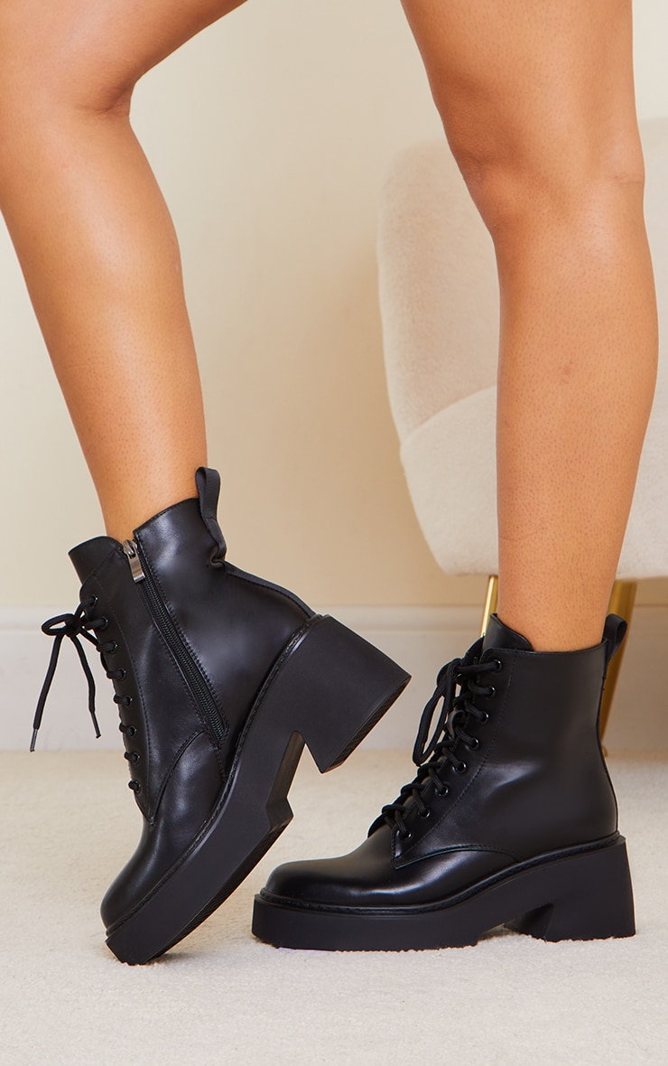 Black Platform Lace Up Ankle Biker Boots 2