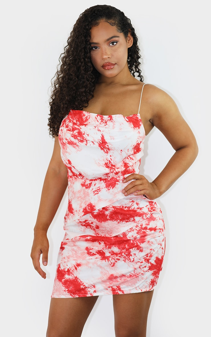 Red Tie Dye Ruched Spaghetti Strap Bodycon Dress 1