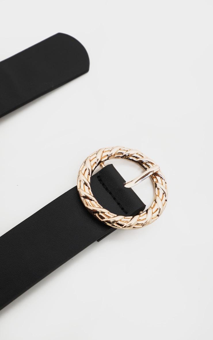 Black Thin Waist Belt With Gold Circular Buckle 3