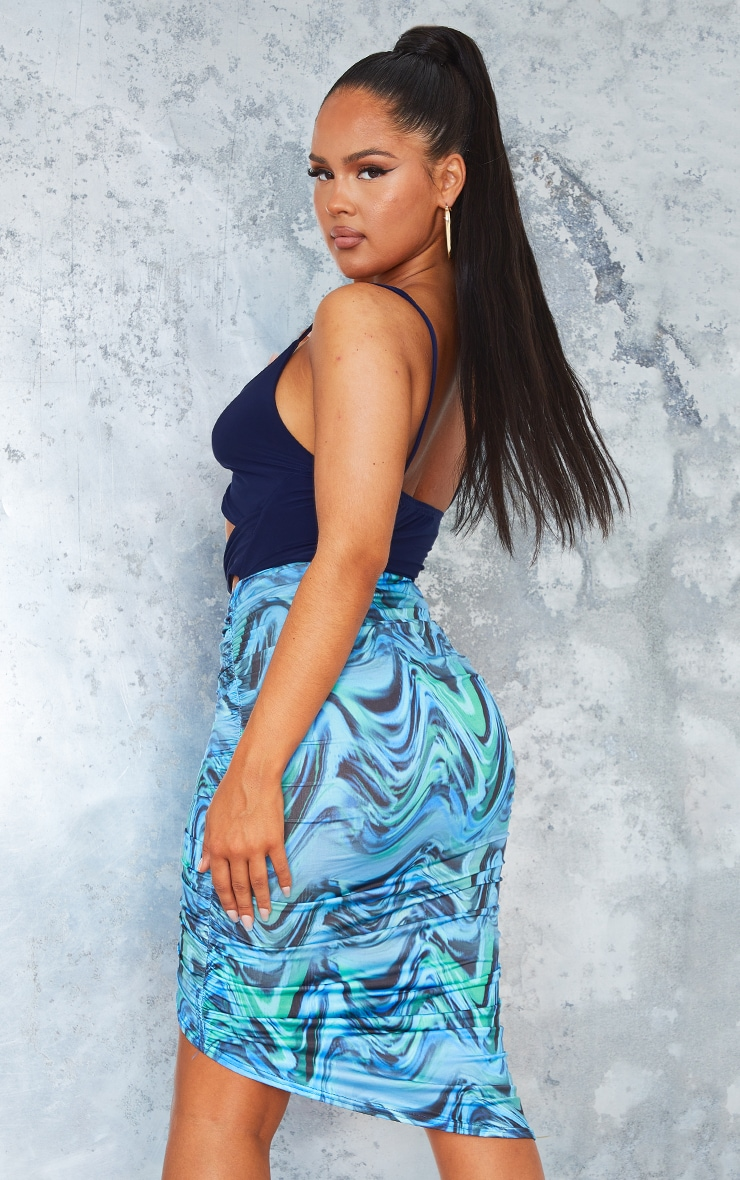 Blue Abstract Print Contrast Slinky Twisted Cut Out Detail Midi Dress 2