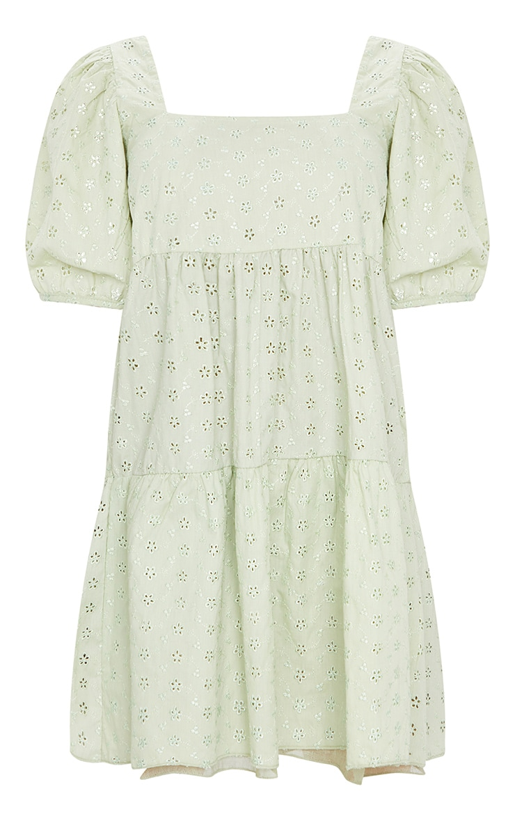 Pale Lime Broderie Smock Dress with Square Neck 5