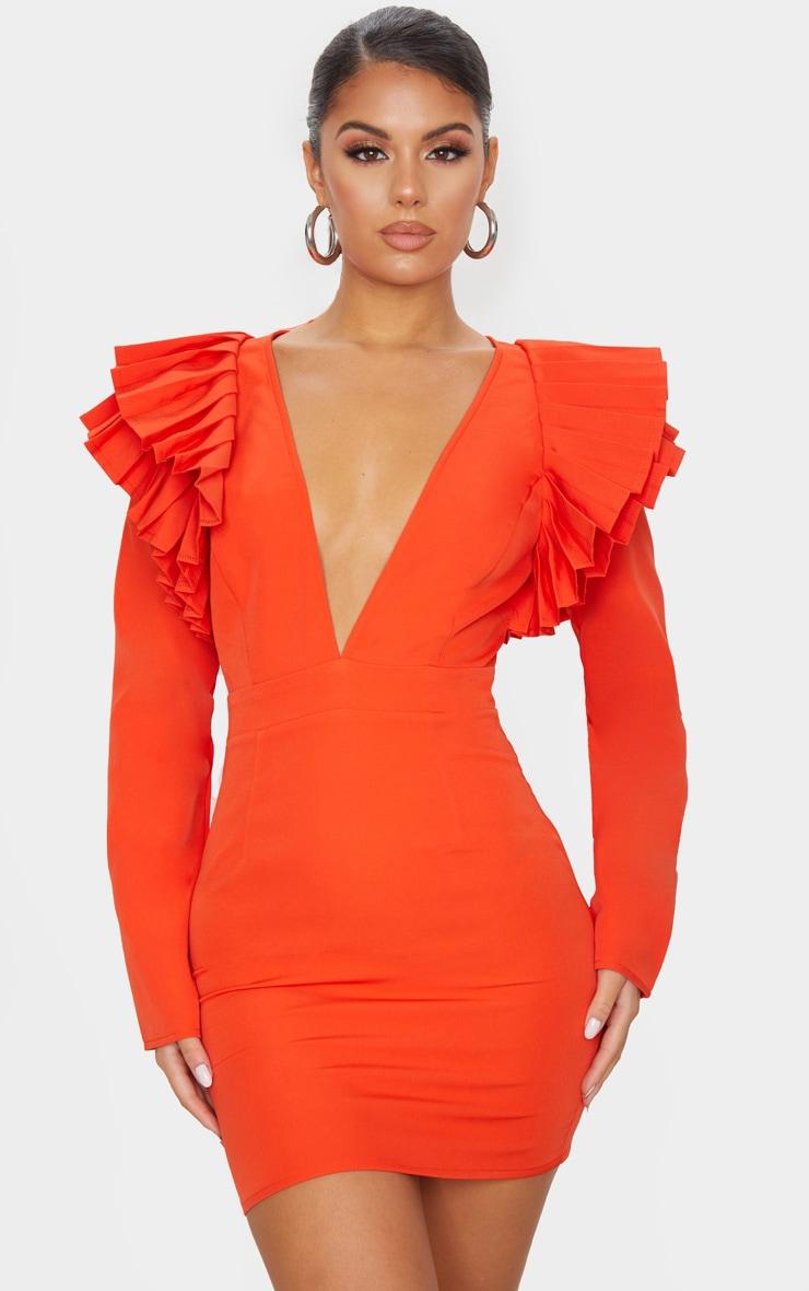 Bright Orange Pleated Shoulder Long Sleeve Plunge Bodycon Dress 1