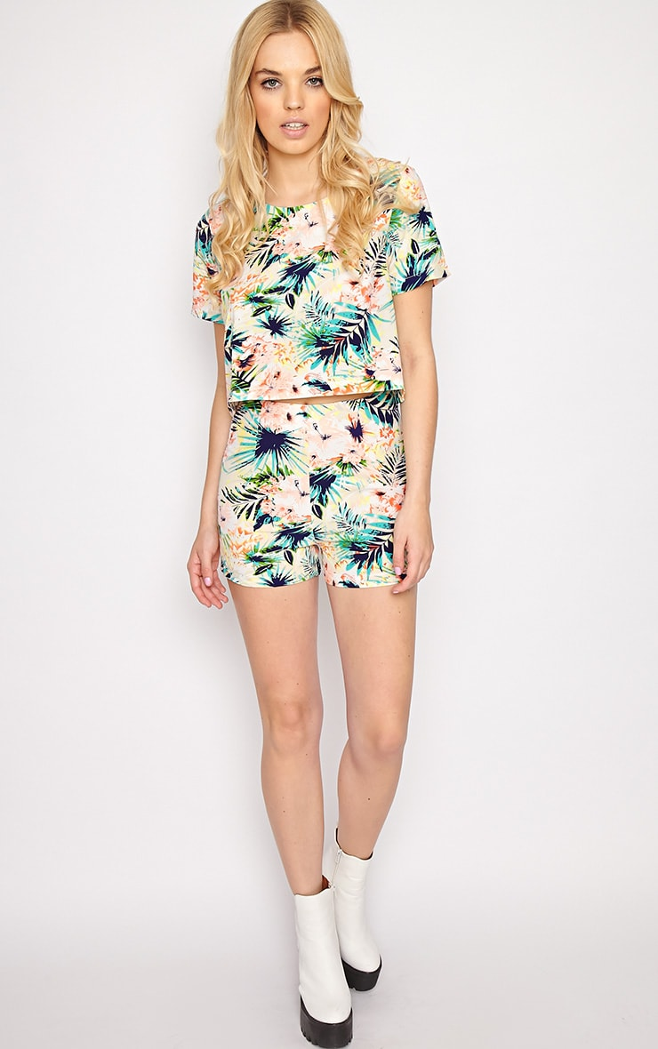 Tropical Print High Waist Shorts 3